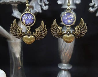 Tiny Flying Heart - cabochon - winged heart - Angel - love - romantic earrings - gold - glitter - Valentine's day
