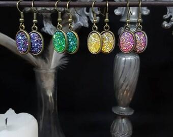Mini Druzzy - bronze - cabochon - resin - glitter - Mermaid - Unicorn - girly - boho - treasure earrings