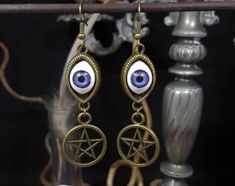 Big Eye detailed Pentagram earrings - evil eye - witch - Voodoo - Gothic - Pentagram - Ouija board - spell - halloween