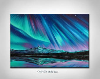 Galaxy art Starry night Aurora borealis Northern lights Oil painting on canvas Galaxy painting Landscape painting Wall art FREE SHIPPING
