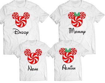 Christmas Family Mickey Minnie Shirts, Disney Family Shirts   Disney Shirts  Mickey and Minnie Head   Custom Disney Trip Shirt I Cruise