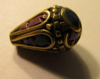 "Handmade Tibetan-Nepalese Purple Lapis Teardrop Brass Bead, 1/2"""