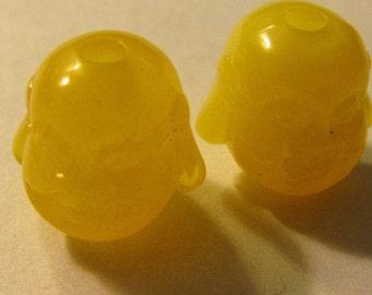 Mini Yellow Resin Chinese Happy Buddha Beads, 9mm, Set of 2