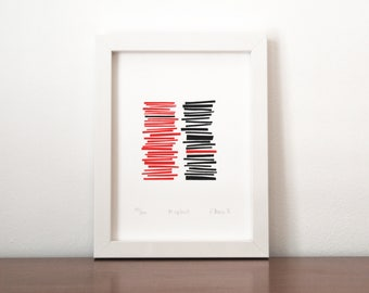 Misplaced - an original limited edition screen print in red and black,  modern silkscreen print