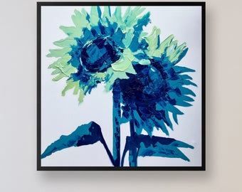 """Sunflowers Painting 32"""" Oil Painting on Canvas Art, Floral Art, Modern Painting, Blue Wall Art, Thick Layers, Sunflowers Art, Flowers Panel"""