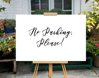 Printable Wedding No Parking sign, Minimalist No Parking sign, Modern No Parking sign, Minimal Directional sign, Calligraphy sign