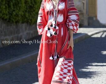 Red linen embroidered dress vyshyvanka. Ukrainian vyshyvanka dress, mexican dress, Kaftan, Abaya, Caftan Bohemian cross stitch pattern, folk