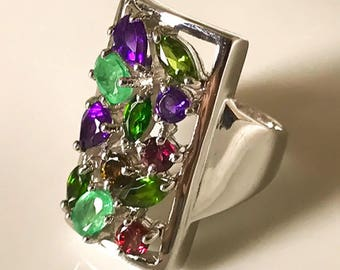 A sublime Multi gem Sterling Silver Ring Size 8.5 - Stunning