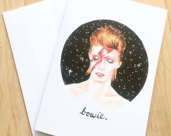 David Bowie Ziggy Stardust Illustrated Greeting Card 5x7