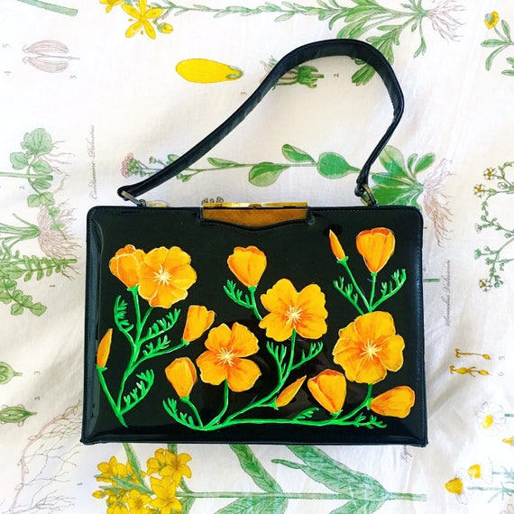 Hand Painted Upcycled Vintage 1950s Handbag California Poppies Floral