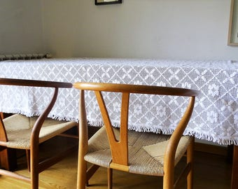 Rectangular crocheted tablecloth rustic crochet tablecloth white linen table cloth large table linen handmade vintage 80s