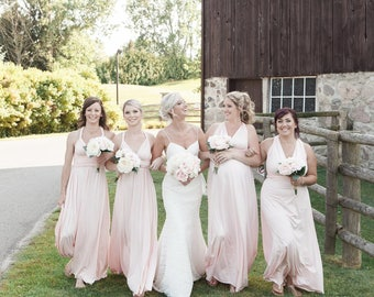 Blush bridesmaid dress,  infinity dress, convertible dress, maternity gown, party dress, prom dress, multiway long dress
