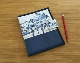 Fabric Notepad Cover, A5 Notepad Cover, Small Sketch Pad Holder, A5 Organiser, Fabric Recipe Holder, Boat Notebook Cover, Writing Pad Cover