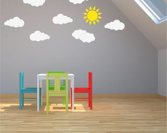 CLOUDS x 7 SUN Girls Boys Bedroom Nursery Babies Childrens Playroom Vinyl Matt Wall Art Sticker Decal Transfer *20 colours*