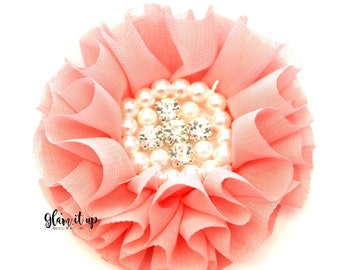 Chiffon Flowers-Pearl chiffon flowers-ruffle chiffon flowers-3.5 in flowers-headband flowers-flowers for headbands-diy headband-Coral