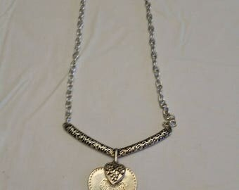 """vintage 21"""" signed RMN simulated silver tone pendant necklace jewelry - robert lee morris heart shape lobster clasp 1970 's  art love friend"""