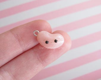 Pink Jelly Bean Charm//Polymer Clay Rose Quartz Jelly Bean Charm//Polymer Clay Jelly Bean Charm//Jelly Bean Clay Charm//Polymer Clay Charms