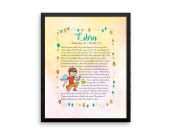 Libra Baby shower gift. Baby zodiac print. Libra nursery print. Astrology gift for Libra baby. Child's zodiac poster. Libra astrology print.