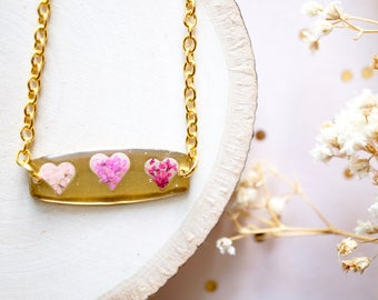 Real Flowers and Resin Necklace, Brass Hearts in Pinks, Valentine's Day Gift