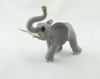 handmade elephant figurine, handcrafted elephant sculpture, original gift idea, polymer clay animal art, miniature elephant