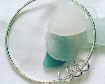Sterling Silver Three Rings Bangle, Silver Bracelet, Simple Bangle, Minimalist Stacking Bangle, Textured Bangle, Hammered Bangle