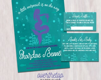 Mermaid  baby shower invitation with Diaper Raffle and Books for Baby card, mermaid baby shower