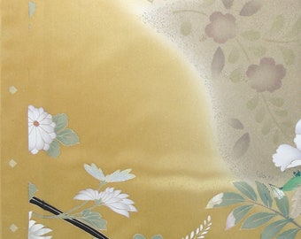 Four seasons' Flowers Golden Brown 2 - Japanese Silk KIMONO Fabric