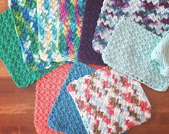 CROCHET PATTERN:Ebb and Flow Wash Cloth/Crochet Pattern/Cotton Dishcloth/Cotton Facecloth/Crochet Cloth/Dishcloth Pattern/Facecloth Pattern