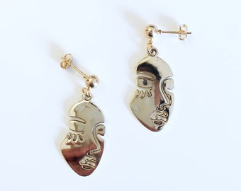 Rose Gold Abstract Doll Face Studs Earrings (Small) / Visage Dorée Chic Art Boucles d'Oreilles / Statement BO / For Her / For Art Lover