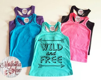 Wild And Free, Arrow, Infant, Toddler, Little Girls Racerback Tank Top in 6 Colors in Sizes 6 Months-6X
