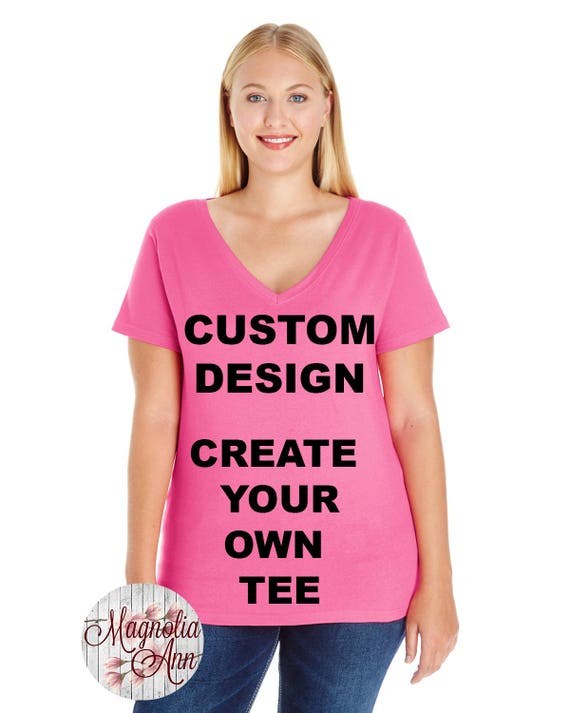 Custom Design, Create Your Own Design, Womens Premium Jersey V Neck T-shirt, Size Small-4X, Plus Size Clothing, Plus Size T Shirt