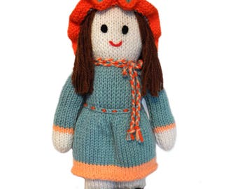 Handmade Gift, Knitted Doll, Handmade Doll, Knitted Items, Girl Doll with Brown Hair, Hand Made Plush Doll, Hand Knitted Items