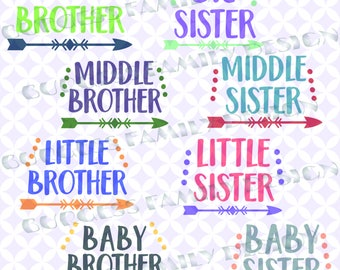 Bundle 8 pack Big Brother Sister Little Brother Sister Middle Brother Sister Baby Brother Sister New Baby Sibling svg dxf eps png