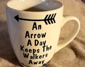 "Coffee Cup The Walking Dead ""An Arrow A Day Keeps The Walkers Away"""