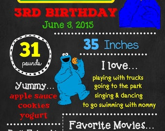 Sesame Street Birthday Chalkboard Poster - Cookie Monster Wall Art design - Birthday Poster Sign - Any Age