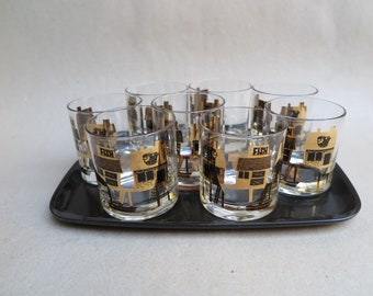 Mid Century Couroc of Monterey Melamine Tray with Matching Set of 8 DOF Glasses. Fresh Fish. Black and Gold. Vintage Cocktail Party. 1960's.