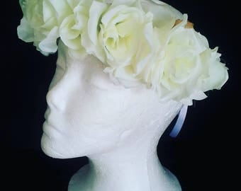 Flower crown, rose crown, white and green rose crown, flowergirl, photo prop, wedding, roses hairpiece, festival crown, races crown, boho