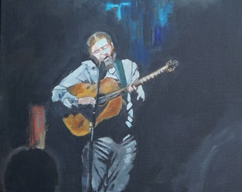 """18""""x24"""" Painting of a Singer Playing Guitar by Debi Sellinger"""