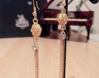 Rose earrings with chains - Gold - 8.cm