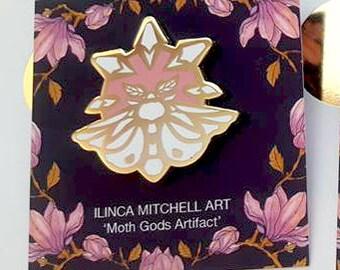 Moth Gods Artifact Enamel Pin - White Moth Lux