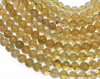 10mm Yellow Quartz Beads, Round Gemstone Beads