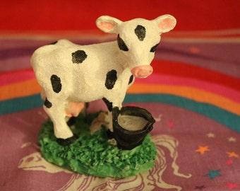 Cute Cow W/Milk Bucket Statue
