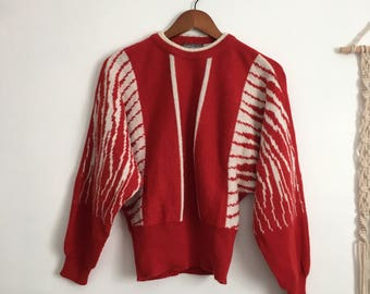 Vintage abstract sweater, red, white, dolman sleeves, size medium m