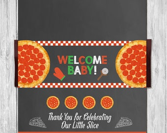 Pizza Party Baby Shower Welcome Baby Candy Bar Wrapper - Baby Shower Candy Wrapper - Couples Baby Shower - Pizza Party Shower Favors