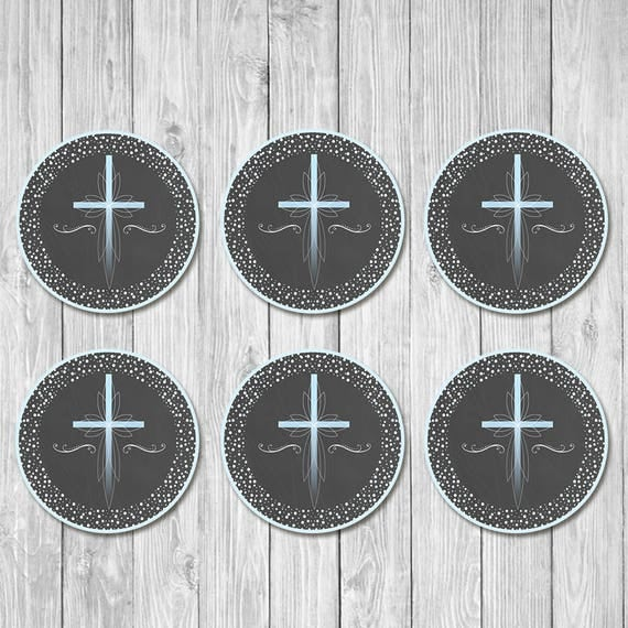First Communion Cupcake Toppers - Blue Cross Chalkboard - First Holy Communion Toppers - First Communion - 1st Communion - Instant Download