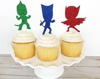 PJ Masks Cupcake Toppers / PJ Masks Birthday Party Decorations / Gekko, Owlette, Catboy Cupcake Toppers / PJ Masks Cake Topper /