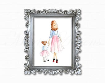 Mother Daughter Print, Watercolor Print, Fashion Illustration, Art Print, Mommy and Me, Art for Girl's Room, Home Decor, Gifts for Her, 8x10