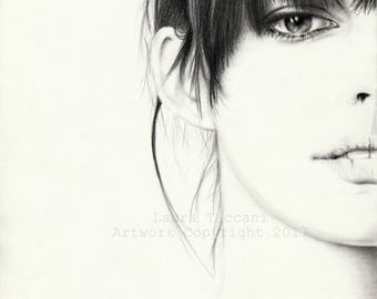 Anne Hathaway portrait, Art Print signed, graphite drawing