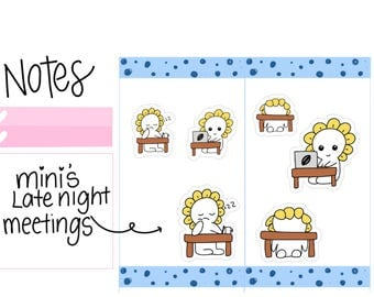 Mini--Late Night Meeting| Working Late| Tired at Work| Late Work| Meetings| Working Hard| Late Nights Planner Stickers (M9)