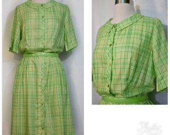 Spring Green Plaid 50s Shirtwaist Dress
